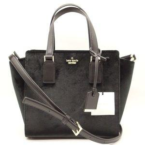 NWT KATE SPADE Small Hayden Black Velvet Handbag